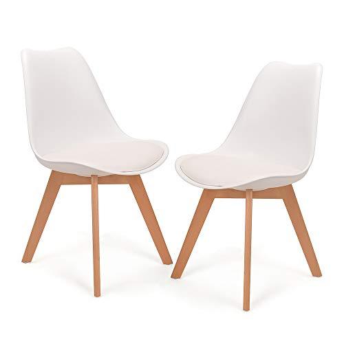 Mingone 2er Set Schwarz polsterstühle eßzimmer kein recycelter Kunststoff Stühle Massivholzbeine (Weiß)