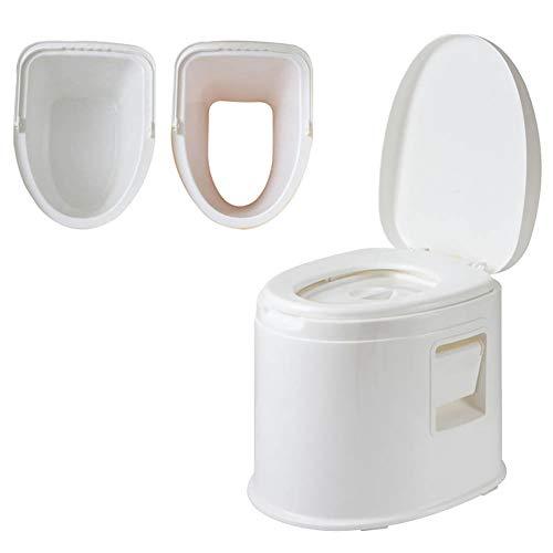 HYCZW Mobile Toilette, Eimertoilette,Camping-Toilette Nottoilette Chemietoilette Toiletteneimer Sanitär Farbe Deluxe Weit Verbreitet - H 42Cm,Weiß