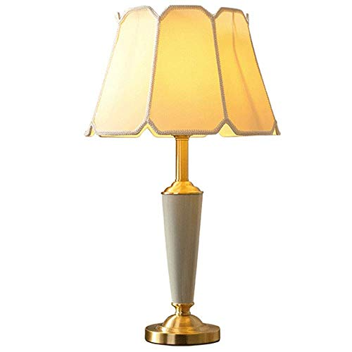 Lámpara de mesa moderna blanca tela translúcida simple cerámica verde lámpara de lámpara verde sombrilla todo el material de cobre cabezal cabezal luz lámpara luz iluminación sala de estar luz 65 cm *