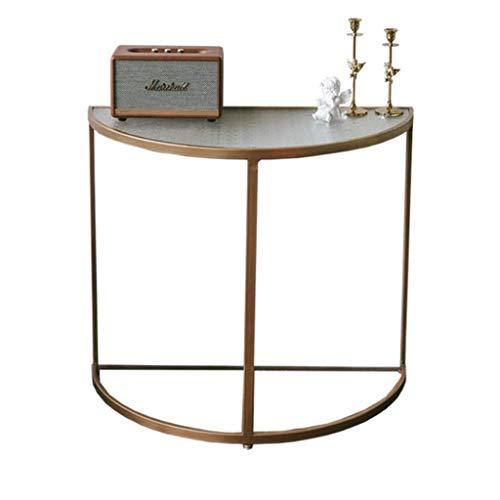 HYAN Luz Retro Lujo Pequeña Mesa de Café Creativa Golden Simple Apartamento Medieval para la Mesa de té de Vidrio para el hogar