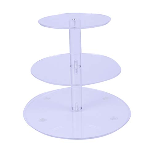 HMROVOOM Round Acrylic Cupcake StandCupcake Tier StandsCupcake Holder Rack for Wedding Party Birthday 3 Tier Round6quot between 2 layers