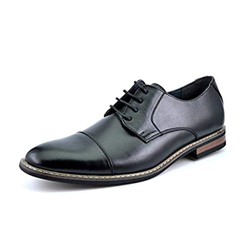 Bruno HOMME MODA ITALY PRINCE Men's Classic Modern Oxford Wingtip Lace Dress Shoes,PRINCE-6-BLACK,10 D(M) US