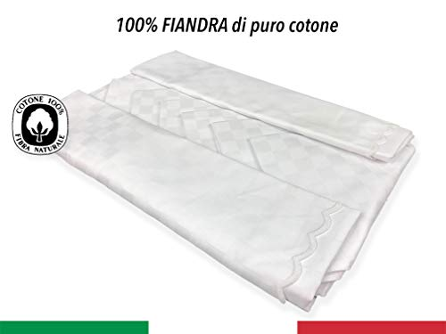 SERVIZIO tovaglia FIANDRA BIANCA puro cotone CON TOVAGLIOLI - Cm. 140x240 + 12 tovaglioli