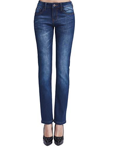Camii Mia - Jeans da donna, in tessuto elasticizzato, con fodera in pile, vestibilità aderente, jeggings, tengono al caldo in inverno - blu - 34W x 30L