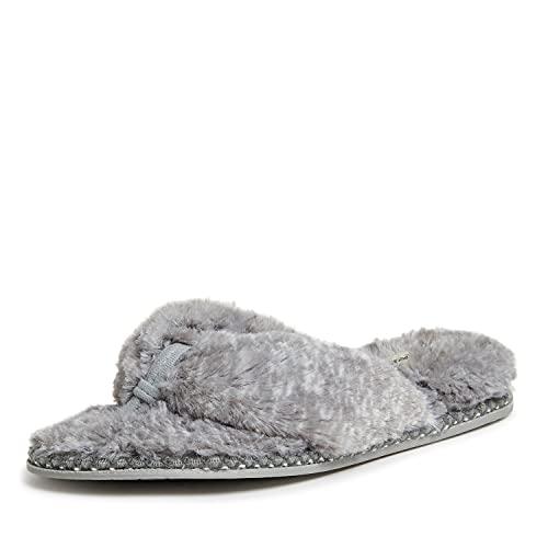 Dearfoams Women's Marie faux fur Thong Slipper