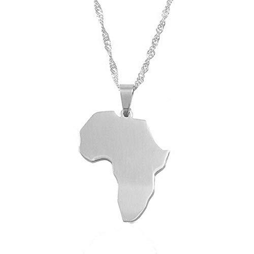 HJMKL Collar De Mapa,Ingenuity Design África Contorno Mapa De Plata Altura 1,4 Cm Tamaño Pequeño Colgante Collar Joyería Étnica Única para Viajes Patrióticos Unisex Conmemora Regalo En Varias Ocasi