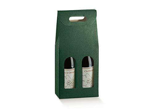 10 cajas de color verde para 2 botellas de vino verticales modelo Bordolés, robustas y extrañas navideñas, cartón acoplado y asa exterior de 18 x 9 x 38,5 cm de altura – 2 verdones