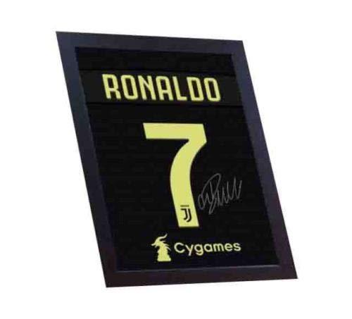 SGH SERVICES - Camiseta con autógrafo de Cristiano Ronaldo Juventus, 100% algodón, enmarcada, diseño de autógrafo