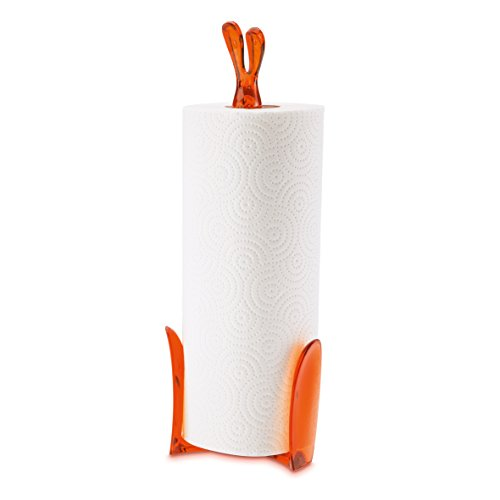 koziol porte-rouleau essuie-tout Roger, thermoplastique, orange transparent, 11,6 x 12,3 x 33,4 cm