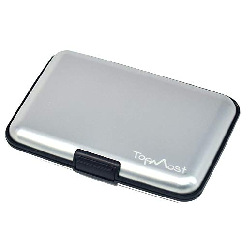 TopMost RFID-Blocking Aluminum Silver Wallet Credit Cards Holder for men & women - Slots for 12 Cards And Bills
