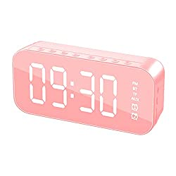 TAFRRYYG Alarm Clock, Alarm Clocks Smart Speaker with USB Charger and Built-in Battery, Portable Night Light Bluetooth Speaker Speakerphone/TF Card/AUX-in Supported(1400mAh,6 Hours) (Pink)