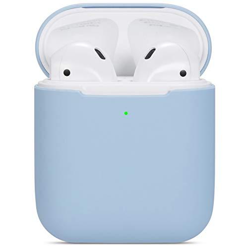 kompatibles Airpods Hülle,Watruer ultradünnes, weiches, silikonschonendes, stoßfestes, rutschfestes Schutzzubehör Schutzhülle für Apple Airpods 2 & 1-Ladekoffer - Hellblau
