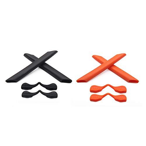 Montoz Juego de 2 almohadillas de repuesto para gafas de sol Oakley RadarLock Path Series, color negro y naranja