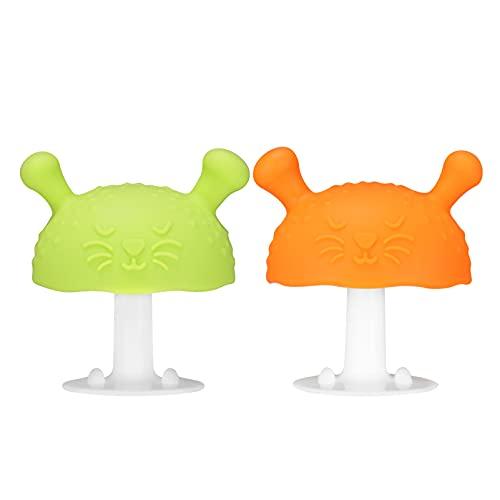 EXCEART Mordedor de Bebé 2 Piezas Juguete de Dentición de Silicona para Bebés Forma de Seta Mordedor Calmante Dientes Molares Chupete para Aspirar Y Tirar Necesidades (Naranja Verde)