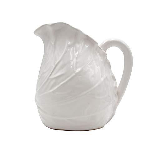 Jarra de cerámica con Forma de Hoja de Col con asa, Capacidad de 1,5 litros, Color Blanco. Medidas: 14,5 x 14,5 x 19,5 centímetros. Material: cerámica (Referencia: 3131015)