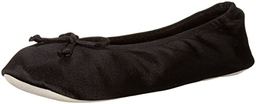 isotoner Women's Satin Ballerina Slipper with Bow, Suede Sole, Black, Large