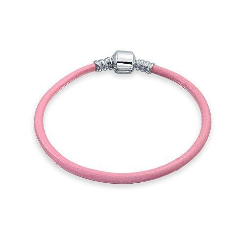 Bling Jewelry Pulsera de Cuero Genuino Rosa de Inicio para Las Mujeres para Adolescentes se Adapta a Las Cuentas Europeas Encanto 925 Plata de Ley 7 Pulgadas