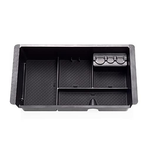 Caja de almacenamiento de coche Edimber con compartimento central para reposabrazos compatible con GMC Sierra/Tahoe Silverado 2014-2018 con 3 almohadillas de goma antideslizantes para consola central