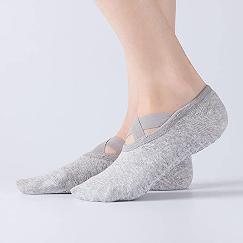 PETEAMAY Frau Yoga Socken Baumwolle Pilates Socken Rutschfeste Fitness Anti Rutsch Socke 2 Paars