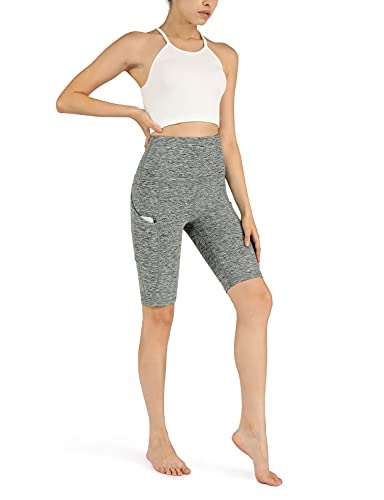 ODODOS Women's 9' High Waisted Biker Shorts with Pockets, Tummy Control Non See Through Weokout Sports Athletic Running Yoga Shorts, CharcoalHeather, X-Large