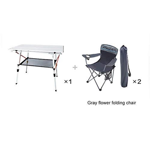 BCX Mesa plegable Mesa de picnic Mesa y sillas plegables portátiles ultraligeras para exteriores,1 mesa 2 sillas