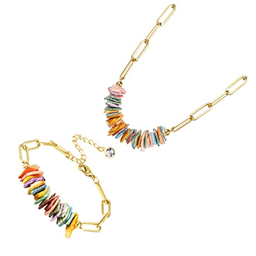 Happyyami 2 Piezas de Collar de Pulsera Bohemia Conjunto de Collar de Concha de Playa Regalo de Pulsera de Clip para La Playa Verano Hawaii Mujeres Esposa Mamá Abuelita
