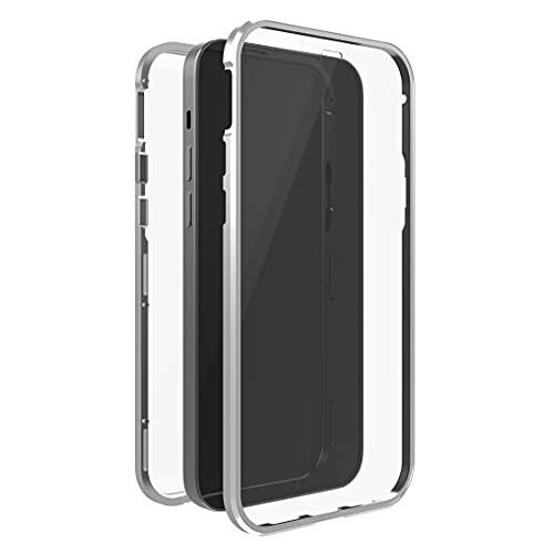Black Rock - Funda de Cristal de 360 Grados Compatible con Apple iPhone 13 Pro I Cierre magnético, Transparente con Marco Plateado.