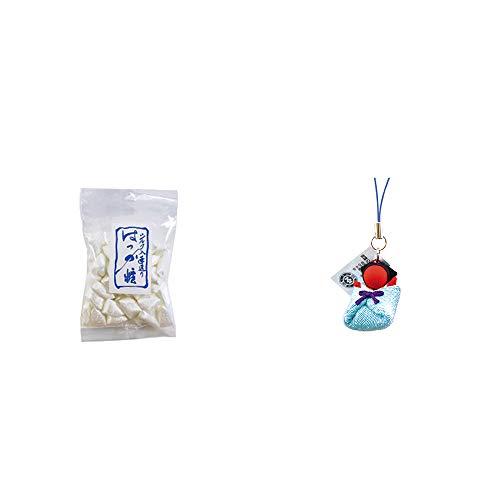 [2点セット] シルクはっか糖(150g)・おくるみさるぼぼ【青】(布タイプ) 小 ストラップ / 子宝・安産祈願に //