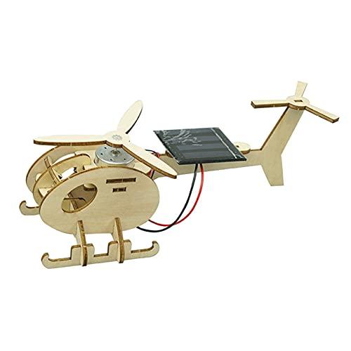 KUYG 3D Puzzle de madera Solar Energía Powered DIY Avión Modelo Kit Mecánico Artesanía Juguete Educativo para Niños y Adultos