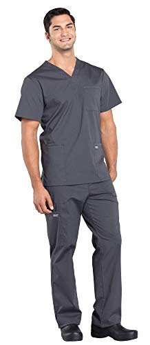 CHEROKEE WW695 & WW190 WW Professionals Men's Scrub Set - V-Neck Top & Tapered Leg Drawstring Cargo Pant, Pewter, M-M