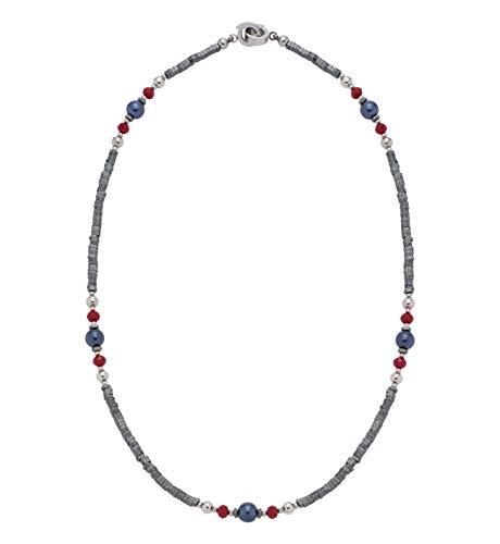Jewels by Leonardo DARLIN'S Damen-Halskette Generoso, Edelstahl mit 4 verschiedenen Perlen und Mini-Clip, Clip & Mix System, Länge 420 mm, 016685