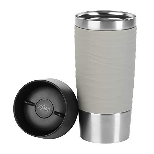 Emsa Travel Mug Waves Isolierbecher N20108 | 0,36 L | bis zu 4h heiß und 8h kalt | 100% dichter Thermobecher | 360°-Trinköffnung | Quick Press Verschluss | Kaffee to Go | Puder-Grau