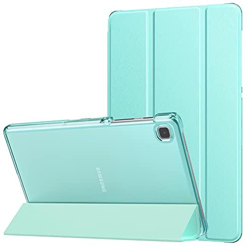 MoKo Funda Compatible con Samsung Galaxy Tab A7 Lite 8.7-Inch 2021 Release Tablet, Delgada Cubierta Estuche Inteligente con Soporte Triple Plegable con PC Trasera Transparente, Azul Claro
