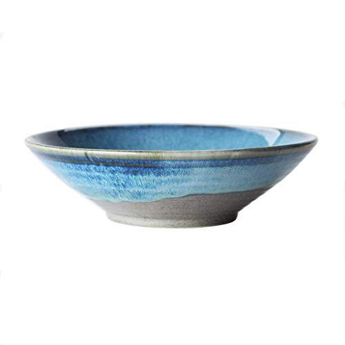 XUSHEN-HU Home Bowl japonés creativo retro línea de cerámica tazón familiar fideos poco profundos, cuenco para pasta de frutas occidentales (color: 6912001000) cocina
