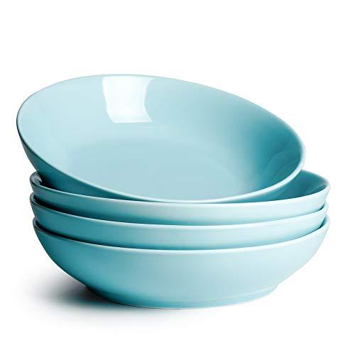 Sweese 113.102 Porcelain Large Salad Pasta Bowls - 45 Ounce 1.3 Quart - Set of 4, Turquoise