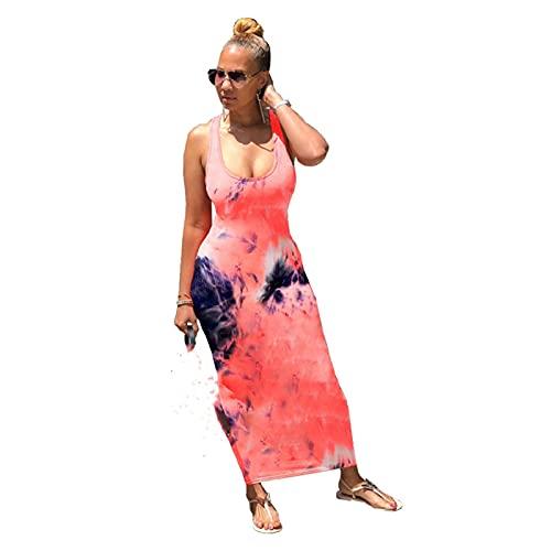 Drukowane Back Sukienki Nowa Moda Damska Kamizelka Bez Rękawów Długa Sukienka Lato Miękka Suknia Bankietowa (Color : C, Size : M)