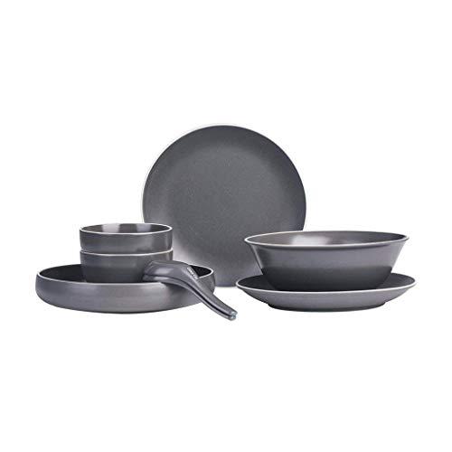 YANJ Juego de vajilla de 10 piezas de vajilla vajilla de cerámica práctica cerámica 2 platos planos 2 cucharas, 1 tazón grande 2 cuencos pequeños 1 cuencos de disco