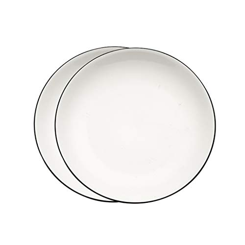 Assiette plate Assiette à dessert, blanc plaque en céramique Accueil Steak Assiette ronde Pâtes Assiette Plats Plats Pâtes Pizza Plat Hôtel restaurant Plate Salad plate (Color : 2pcs -25cm)