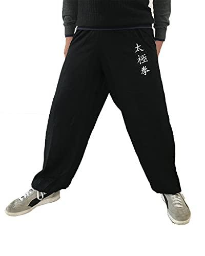 Pantaloni Kung Fu Tai Chi e Wing Chun Pantaloni da Uomo e da Donna Ampi e Piacevoli Viscosa (TJ Nero Taglia M)