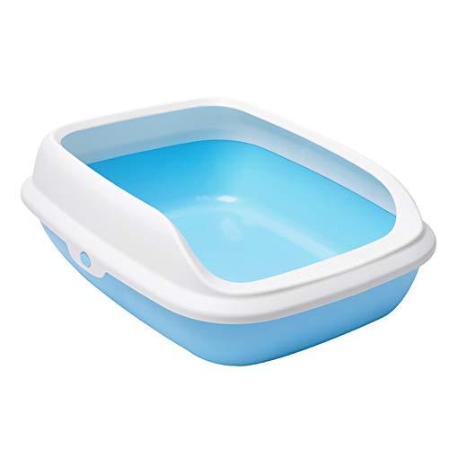 Grote kat zandbak, half gesloten plastic kat toilet met kat nest afneembaar DesignVoor eenvoudige demontage en reiniging, Medium, Blauw