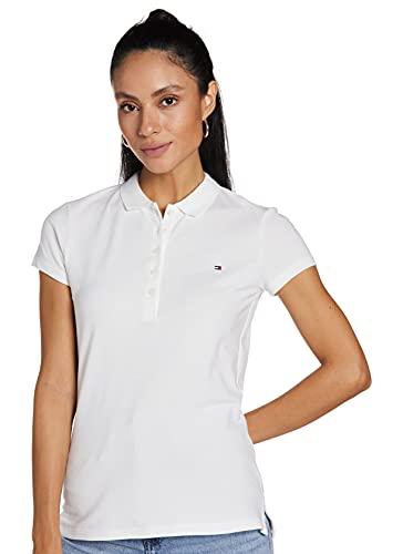 Tommy Hilfiger Heritage Short Sleeve Slim Polo Camiseta, Blanco (Classic White 100), M para Mujer