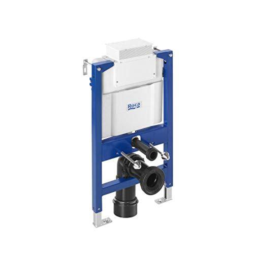 Roca Bastidor con cisterna empotrable de doble descarga para inodoro suspendido, 50 x 16 x 82 centímetros, color blanco y azul (Referencia: A890121010)