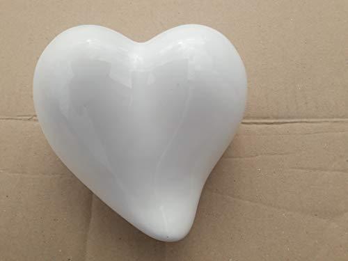 Tierurne in Form eines Herzes aus Keramik Dekor weiß