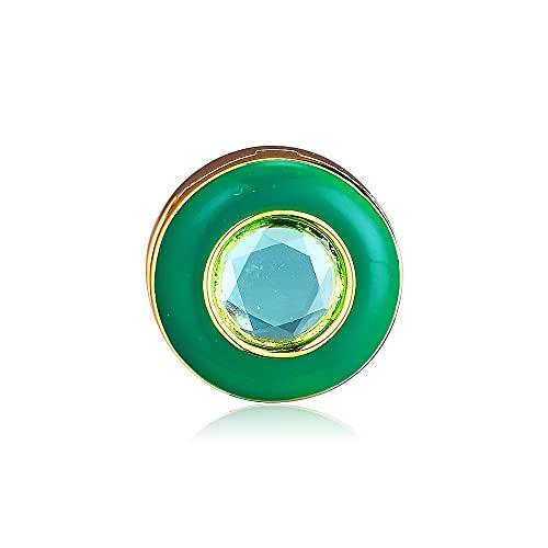 LIIHVYI Pandora Charms para Mujeres Cuentas Plata De Ley 925 Joyería De Clip De Círculo Verde Radiante DIY Compatible con Pulseras Europeos Collars