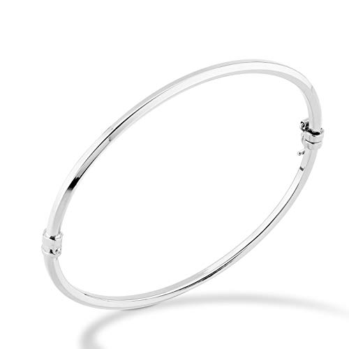 Miabella 925 Sterling Silver Italian Oval Hinged Bangle Bracelet for Women Girls, 6.75 to 8 Inch, Made in Italy (Medium 7.25