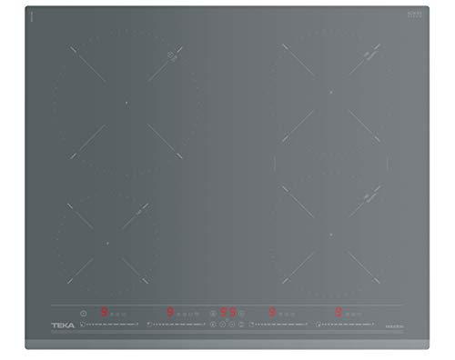 TEKA Urban Colors Edition IZ6420ST Induktions-Kochfeld 60 cm, Induktionskochplatte mit 4 Kochzonen, steingraues Glas & Facettenrahmen