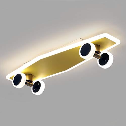 LED Kinder Deckenleuchte Dimmbar Deckenbeleuchtung, Warmes Licht/Neutrales Licht/Weißes Licht, CRI≥80Ra, 32W, 2800LM, 60×19×7cm, Modern Skateboard Deckenlampe Für Kinderzimmer Wohnzimmer Schlafzimmer