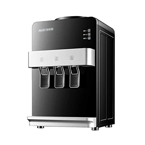 DIEFMJ Dispensador de Enfriador de Agua para encimera de Carga Superior con Agua Caliente, fría y a Temperatura Ambiente con 3 Salidas de Agua, Color Negro