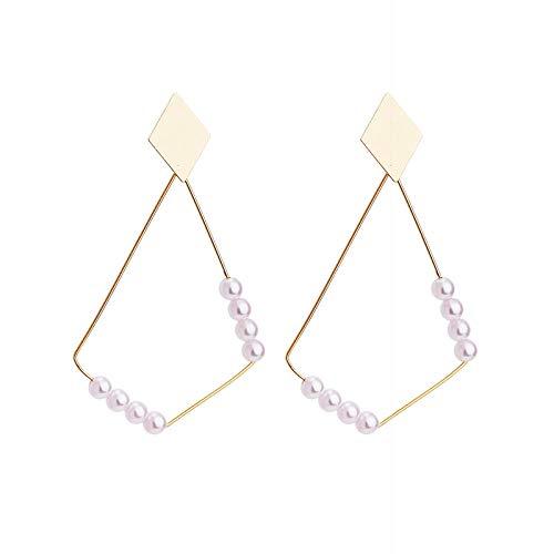 Pendientes para mujer largos Antialérgicos Aretes de perlas de diamantes geométricos templados El mejor regalo de cumpleaños o vacaciones