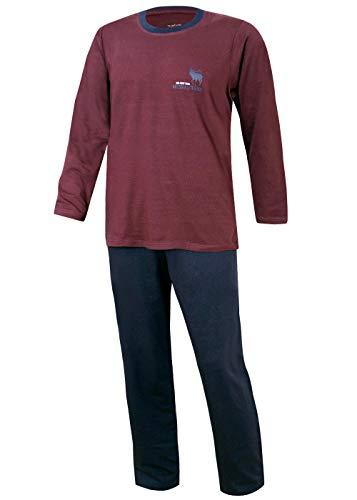 Herren Pyjama lang Herren Schlafanzug Übergrösse Plusgrösse lang Hausanzug Herren aus 100% Baumwolle Model Vintage (M/50, Hirsch Motiv Rot)